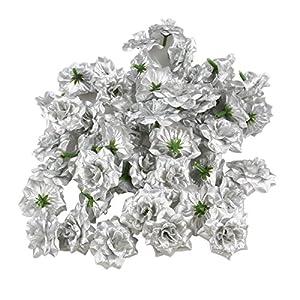 VORCOOL 50pcs Silk Rose Flower Heads for Hat Clothes Album Embellishment (Silver) 34