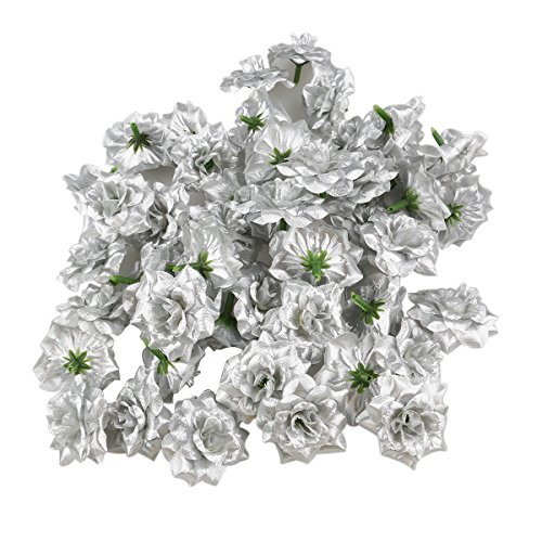 (Tinksky 50pcs Silk Rose Flower Heads for Hat Clothes Album Embellishment Wedding Car Decoration (Silver))