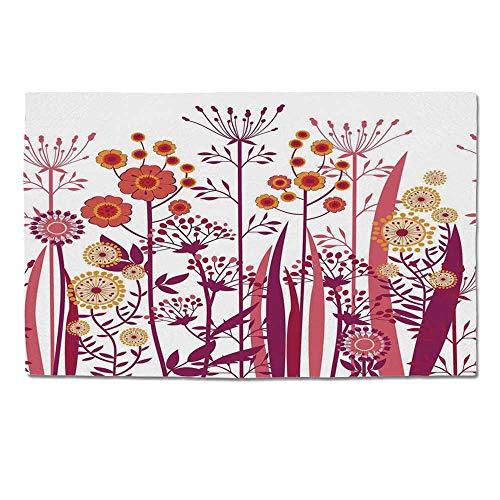 YOLIYANA Flower Durable Door Mat,Garden Pink Florals Buds Leaves Swirls Romantic Modern Art for Home Office,One Size