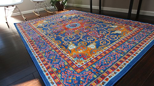 Generations pre8023DarkBlue_6x8 Oriental Traditional Isfahan Persian Area Rug, 5' x 8', Light Blue/Navy/White/Orange/Yellow/Crimson Red - Isfahan Persian Area Rug