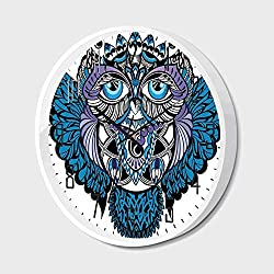 Silent Wall Clock Non Ticking Metal Frame HD Glass Cover,Tribal Decor,Owl Bird Animal with Paisley Tattoo Decor with Big Blue Eyes Lashes,for Living Room, Bedroom,Office,14inch