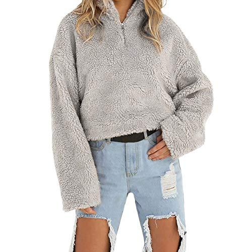 Women's Sweatshirt, FORUU 2018 Coat Winter Warm Wool Zipper Cotton Coat Blouse