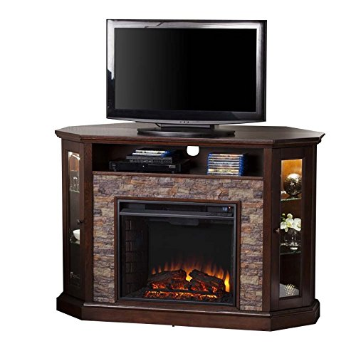 Fireplace Stand Brick (Southern Enterprises Redden Corner Electric Fireplace TV Stand)