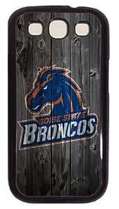 Boise State Broncos Logo wood background Samsung Galaxy S3 I9300 Case, custom Samsung Galaxy S3 I9300 case, pc black Samsung Galaxy S3 I9300 case