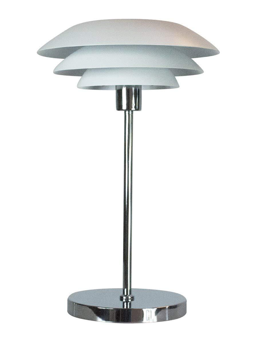Dyberg Larsen DL31 Chrom weiß Moderne LED Design Tischleuchte Nachttischleuchte für Wohnzimmer Kinderzimmer Schlafzimmer Deko Beleuchtung Tischleuchte Durchmesser: 31cm Höhe: 50cm