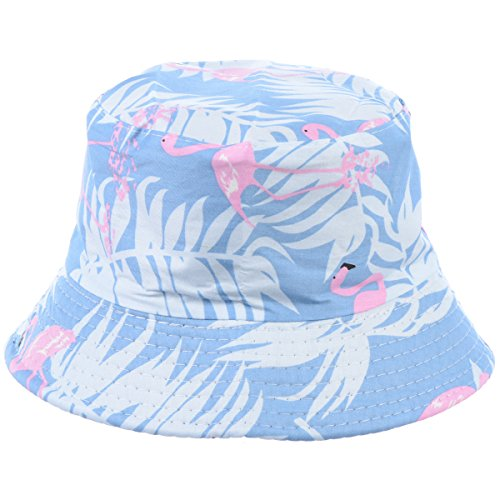 - BYOS Fashion Packable Reversible Black Printed Fisherman Bucket Sun Hat, Many Patterns (Flamingo Pastel Blue)