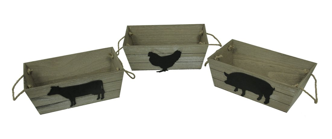 Zeckos Wood Shelf Baskets Whitewashed 3 Piece Cow Pig Chicken Farm Animal Wood Basket Set 13.75 X 5 X 7.75 Inches Beige