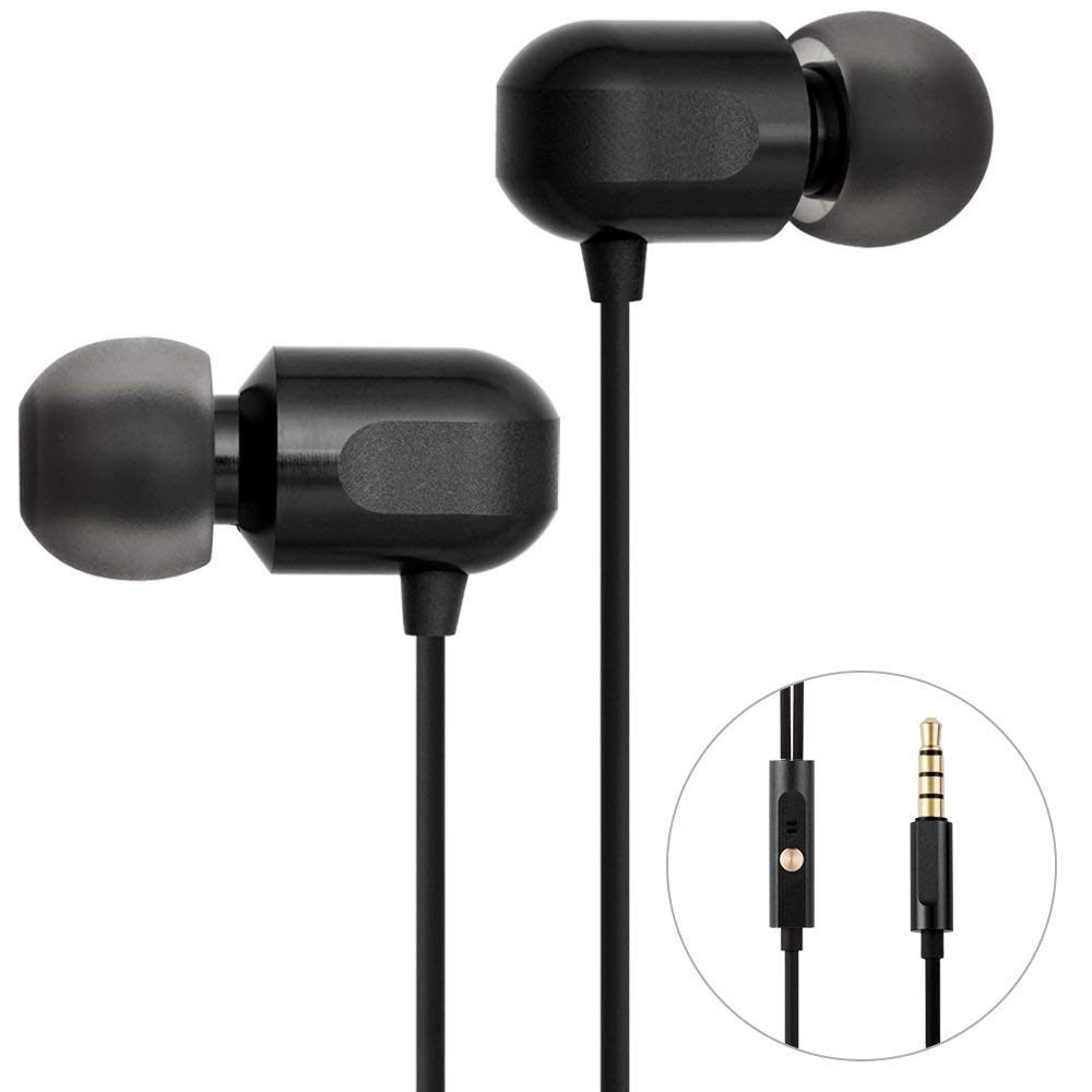 Earbuds, GGMM Wired Earphones Noise Isolating Headphones Earbuds with Microphone Heavy Deep Bass Earphones Ear Buds, in Ear Headphones Fits All 3.5mm Interface Device C700-Black