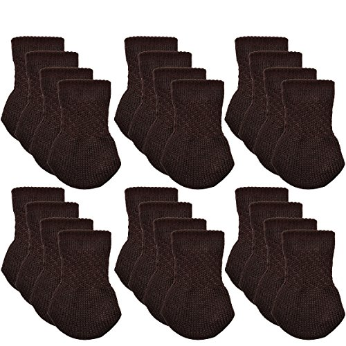 Furniture Socks, Outgeek 24 Pack Knitted Furniture Feet Socks Chair Leg Floor Protectors Chair Leg Socks (Brown)