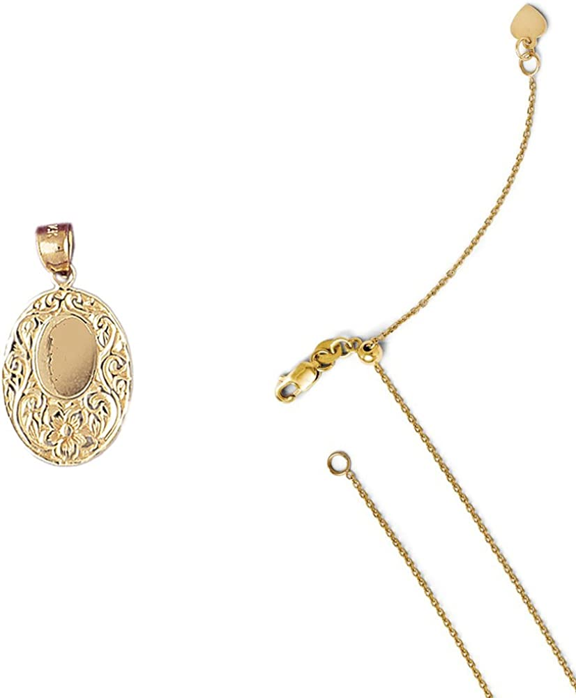 14K Yellow Gold Handcut Engraveable Plate Pendant on an Adjustable Chain Necklace