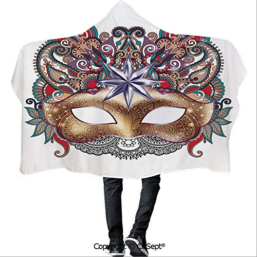 AmaUncle Hooded Blankets,Venetian Carnival Mask Silhouette with Ornamental Elements Masquerade Costume Decorative,Unisex All Ages One Size Fits All(59.05x51.18 inch),Multicolor