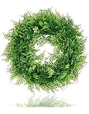 "Homcomoda Artificial Wreath Faux Boxwood Wreath Green Leaves Wreath Spring Wreath 16"" for Front Door Window Wall Decor (L-Green, 16Inch)"