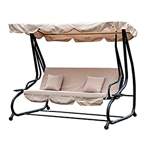 Outsunny 3 Seat Patio Swing with Canopy Beige