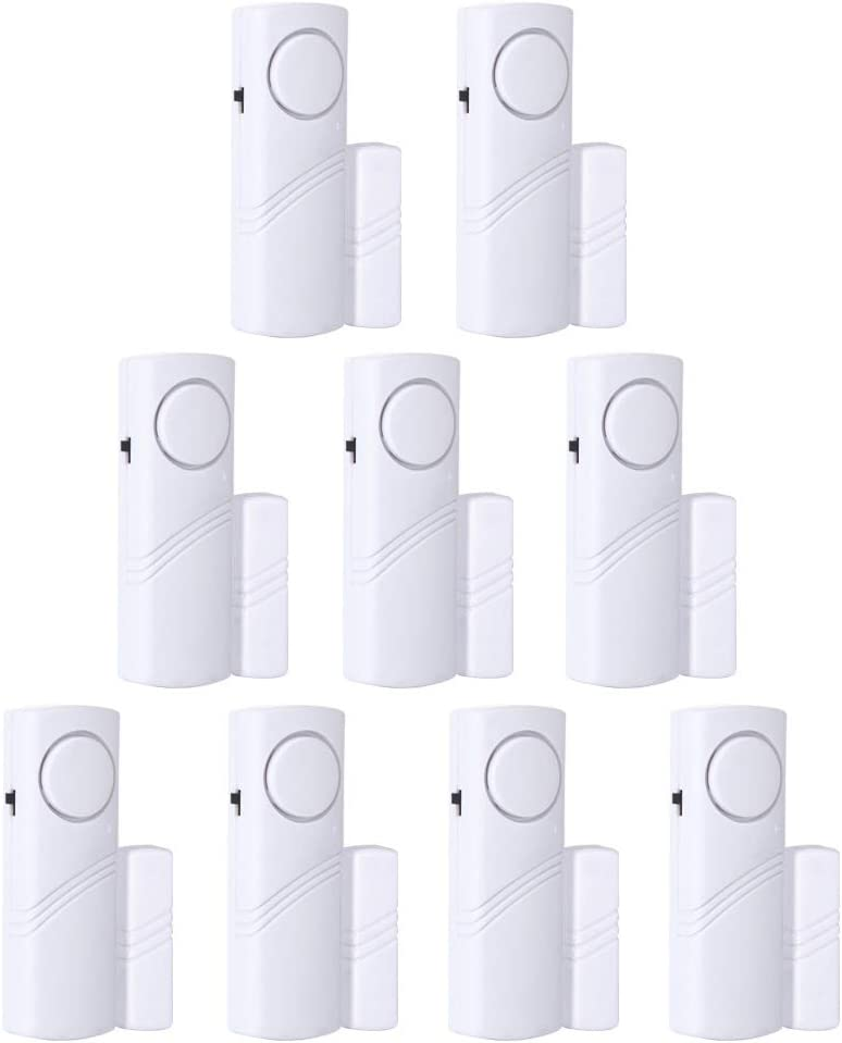 Door Window Alarm, Burglar Alarm, Home Security Wireless Magnetic Sensor Anti-Theft Alarm (9pcs)