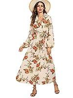 Milumia Women's Bishop Sleeve Surplice Wrap Self Tie Floral Print Maxi Dress