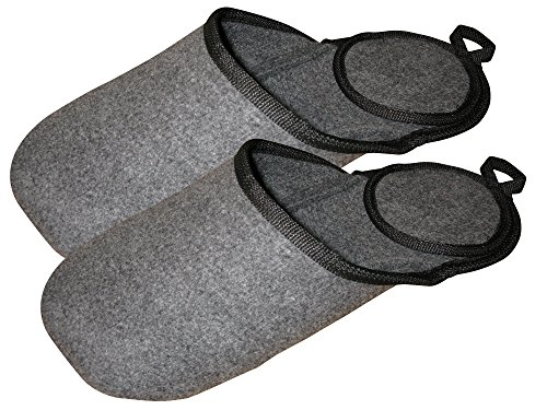 - Overshoes Made in USA Indoor Overshoes slip over your boots and shoes keep your floors clean the easy way. These Shoe and Boot Slippers are Large recommended for Mens size 10-12 Woman's size 10 and up