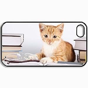 Fashion Unique Design Protective Cellphone Back Cover Case For iPhone 4 4S Case Cat Black by icecream design