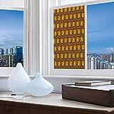 TecBillion Ethylene Film Printing Design Window Film,Zambia,Suitable for Kitchen, Bedroom, Living Room,Kenya Ethnic Motif with Geometrical Aztec Native American,24''x48''