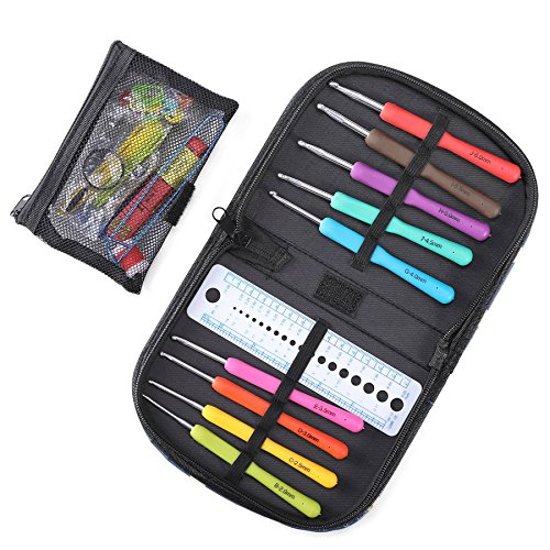 CO-Z Ergonomic Multicolor Aluminum Crochet Hooks Multi-Size Knitting Hooks Set with Knitting Accessories and Storage Case, Rubber Handle Hooks Perfect for Any Weave Patterns & Yarns Smooth Knits