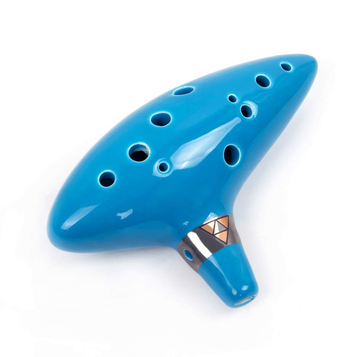 Kmise Ocarina 12 toni Alto C con cordino da collo per espositore per libro di canzoni sky blue