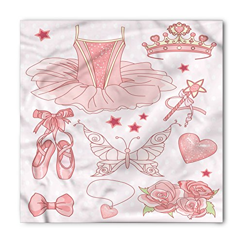 Princess Bandana by Lunarable, Fantastic Princess Ballerina Accessories Classic Costume Shoes Tiara Roses, Printed Unisex Bandana Head and Neck Tie Scarf Headband, 22 X 22 Inches, Rose Pale Pink from Lunarable
