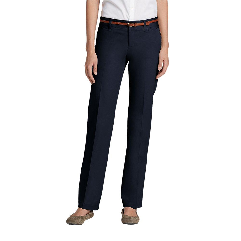 Eddie Bauer Women's StayShape Straight Twill Pants - Slightly Curvy, Navy 14 Re