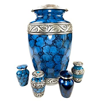 Image of Cremation Urns for Human Ashes - Elegant Large Adult Urn + 4 Keepsake Mini Urns for Human Ashes Set | Beautiful Blue & Silver Engraved Funeral Metal Memorial Gifts Urn Vase in Satin Lined Keepsake Box Home and Kitchen