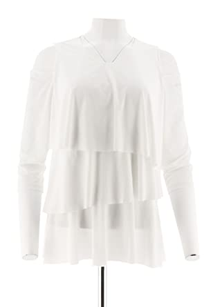 28389822f82986 Every Day Susan Graver Liquid Knit Cold Shoulder Tiered Top White 1X New  A301134