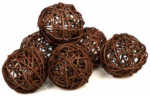 2 Packages Decorative Spheres of 6-Brown Twig Grapevine Vase Fillers Balls Ornament (Jones Sweat Light)