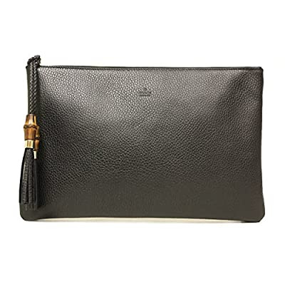 Gucci 376858 Black Leather Bamboo Braided Tassel Large Clutch Bag