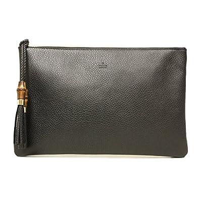 Gucci 376858 Black Leather Bamboo Braided Tassel Large Clutch Bag