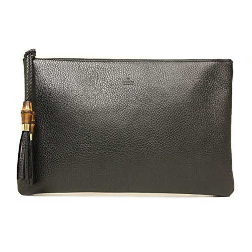 Gucci 376858 Black Leather Bamboo Braided Tassel Large Clutch Bag by Gucci