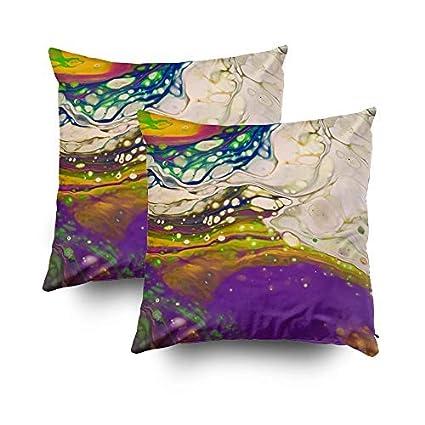 Amazon com: MurielJerome Pillowcase Fluid Art Rainbow Moon