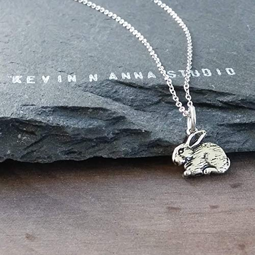 Sterling Silver Petite Rabbit Charm Necklace, 18