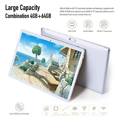 Tablet 10 Inch 2.5D Tempered Glass HD Display Dual SIM Card...