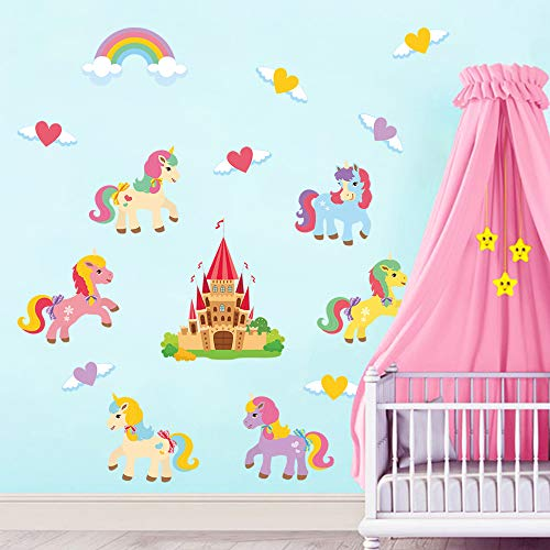 decalmile Colorful Unicorn Wall Decals Princess Castle Rainbow Wall Stickers Baby Girls Nursery Kids Room Wall Decor