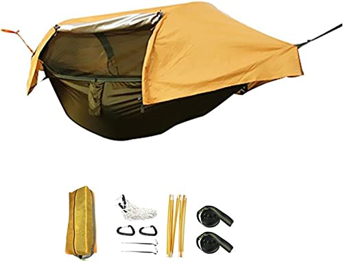 Camping Hammock with Mosquito Net and Rainfly Cover, Lightweight Portable Hammock for Outdoor Backpacking Hiking Travel Green