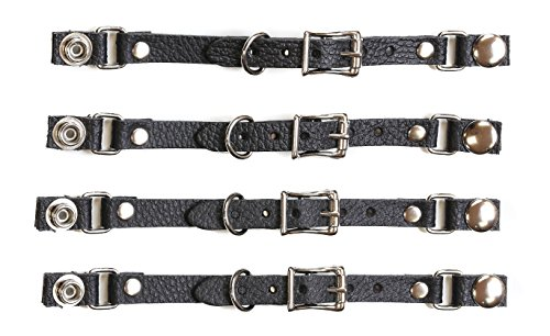 Leather Buckle Bikers Vest Extender for Mc Jacket Real Leather-4 Pcs (SNAP-LG-10MM, BLACK) ()