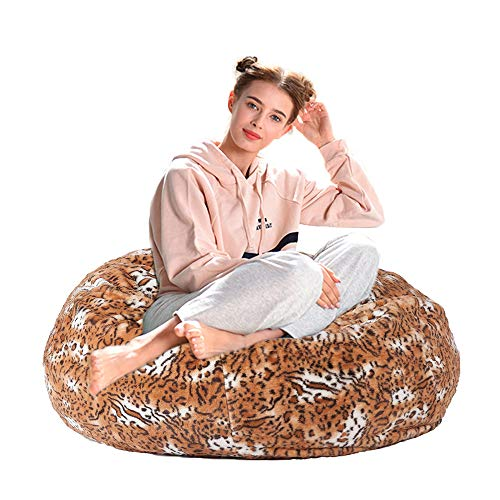 Dporticus Christmas Love Sacks Series Lounger Memory Foam Faux Fur Comfy Bean Bag Chair Sofa Plush Furry Sponge Filling for Adults and Kids 3 Ft,Leopard Print