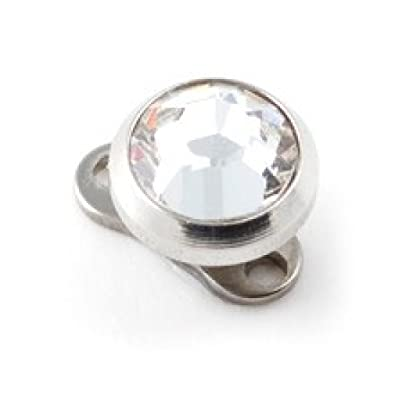 Amazon Com Votrepiercing White Strass Round Top For Microdermal