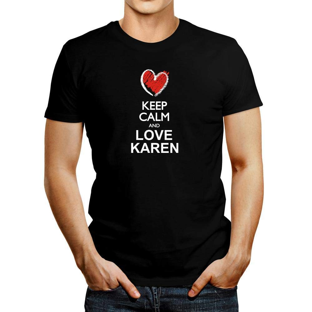 Idakoos Keep Calm and Love Karen Chalk Style T-Shirt