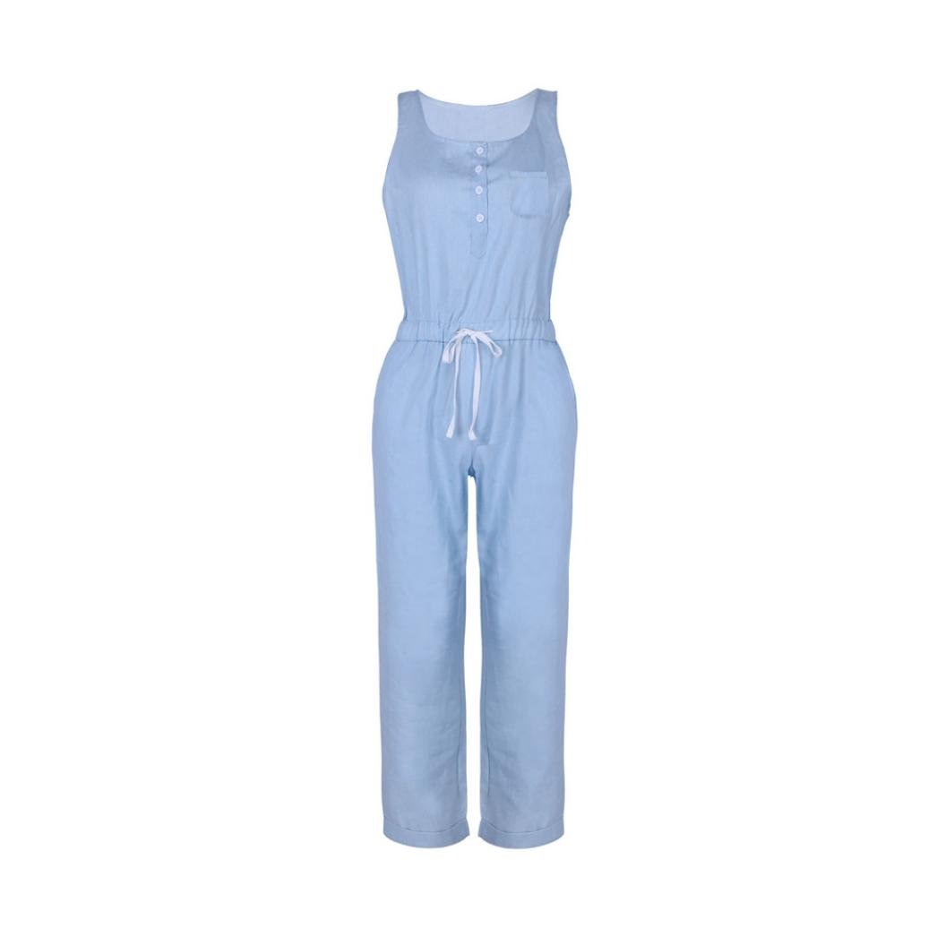 2c8ecb442bdf Amazon.com  vermers Womens Denim Jumpsuits Summer Holiday Jeans Playsuit  Elastic Waist Strappy Long Beach Rompers  Clothing