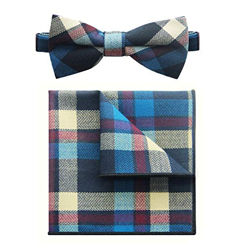 Men Bowties Set Pre-Tied Bow Tie Cotton Plaid Gorgeous Tuxedo Bow Tie Set(Blue)