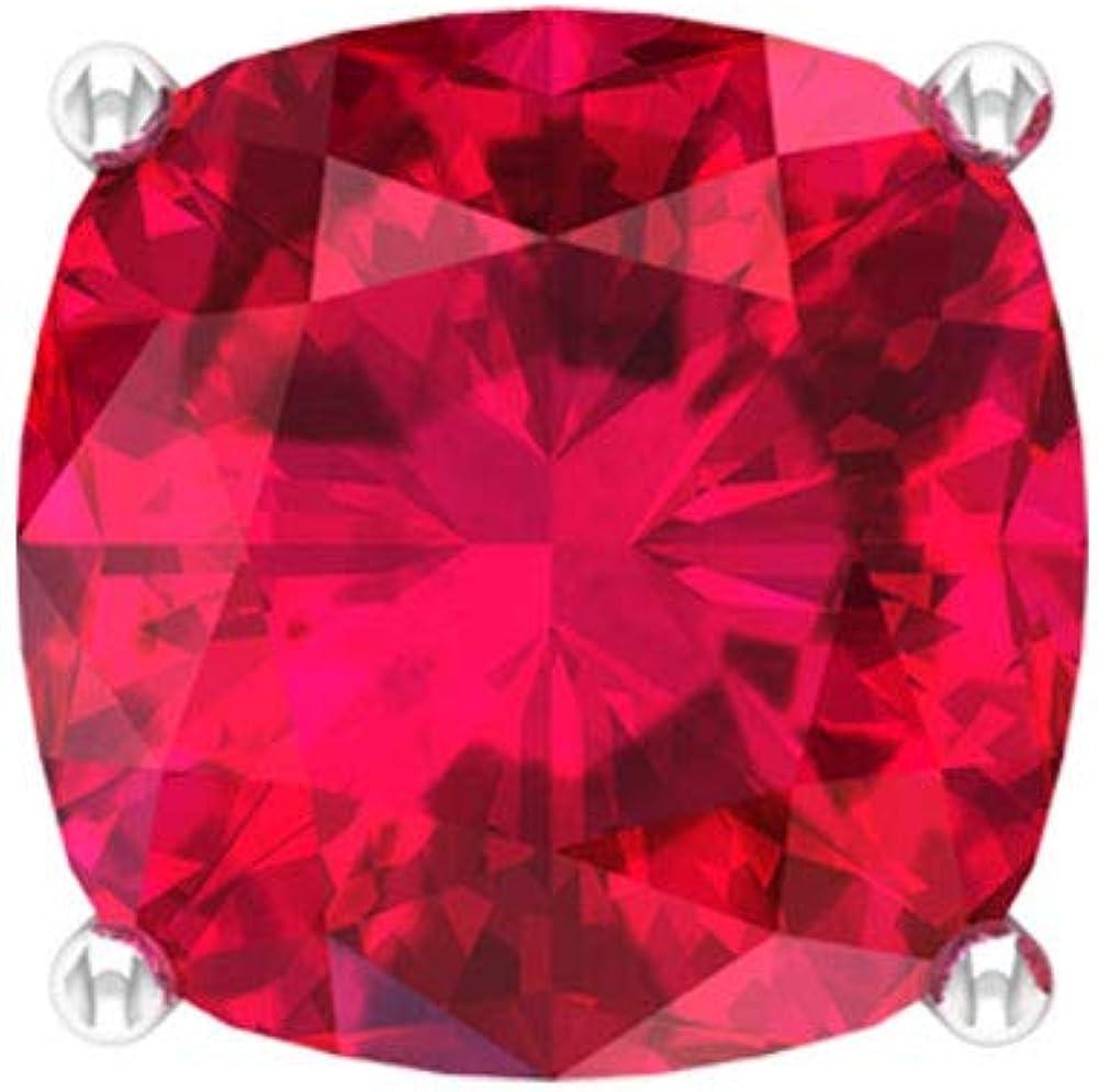 Pendientes de cristal de rubí de 9 quilates, con corte cojín, pendientes de novia solitario, pendientes de aniversario de mujer, pendientes de promesa, tornillo hacia atrás