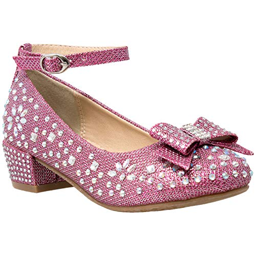 Kids Dress Shoes Girls Glitter Rhinestone Bow Accent Mary Jane Pumps Magenta SZ -