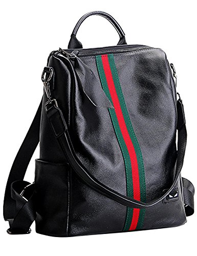 Menschwear Womens Genuine Leather Rucksack Hiking Travel Tote Bag Red-green Stripes (Black Leather Green Stripe)