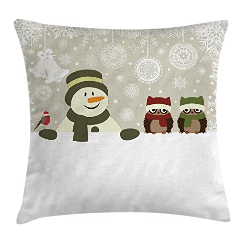 Snowman and Owls Christmas Pillow Cover