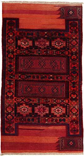 RugInRoll Turkish Hand-Knotted Camel Bag Pattern, Geometric Design, Wool on Wool, Antique, Handmade Area Rug, (4' 2