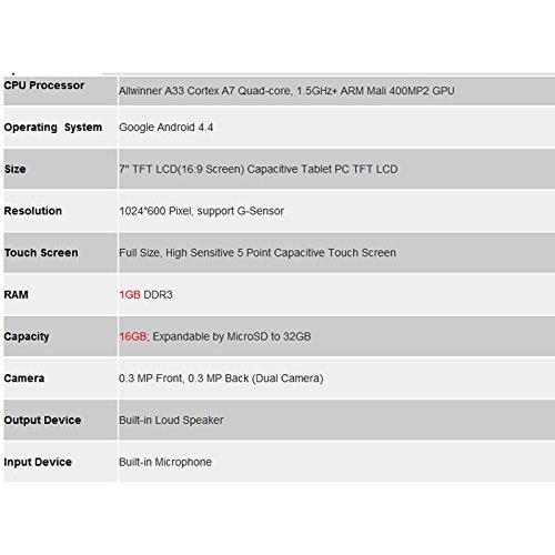 Hanbaili (US Plug) Tablet Pc, 7''A33GoogleAndroid4.4QuadCoreCamera 1GB+16GBTabletPCWiFiBluetooth by Hanbaili (Image #5)