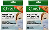 2 Pack of Curad® Antiviral Medical Face Mask, Pleated, 10/Box. Includes 2 Boxes/20 Total.